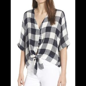 Rails XS Thea Azure Check Tie Front Gingham Top